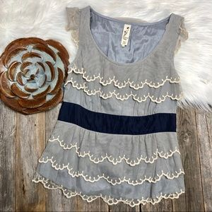 Anthropologie Sleeveless Top 0 Layered Mesh Lace